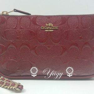 Coach Wristlet Signature Glitter Red Gold Leather